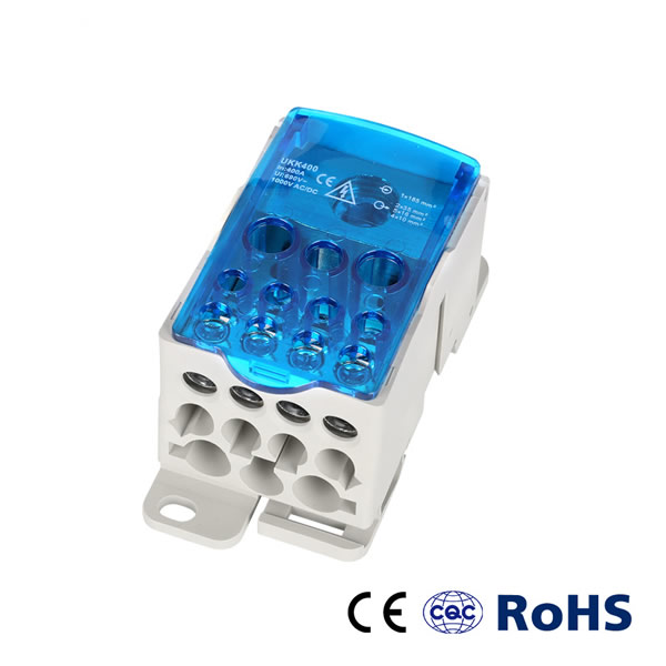 Ukk 400A 35 mm DIN Rail Wiring Distribution Block Junction Box