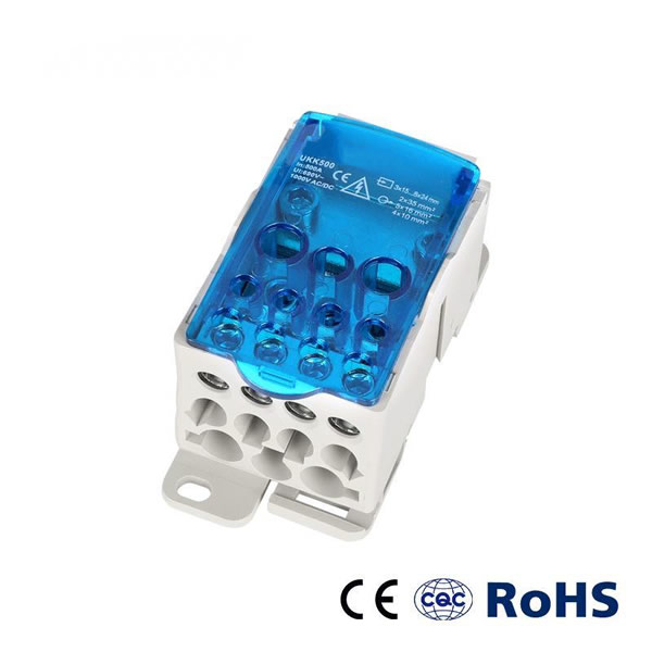 Ukk 500A DIN Rail Electrical Distribution Block Screw Connection